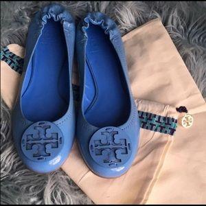 Shoes - Tory Burch Reva Flats. Size 10. Blue. New!